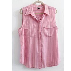 Ann Taylor Summer Bubble Gum Pink Shirt Top Size S